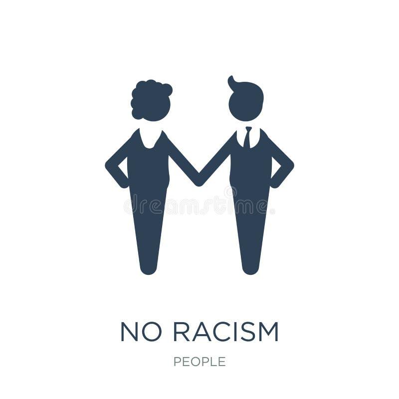 在时髦设计样式的没有种族主义象 在白色背景隔绝的没有种族主义象 没有种族主义传染媒介象简单和现代舱内甲板 库存例证