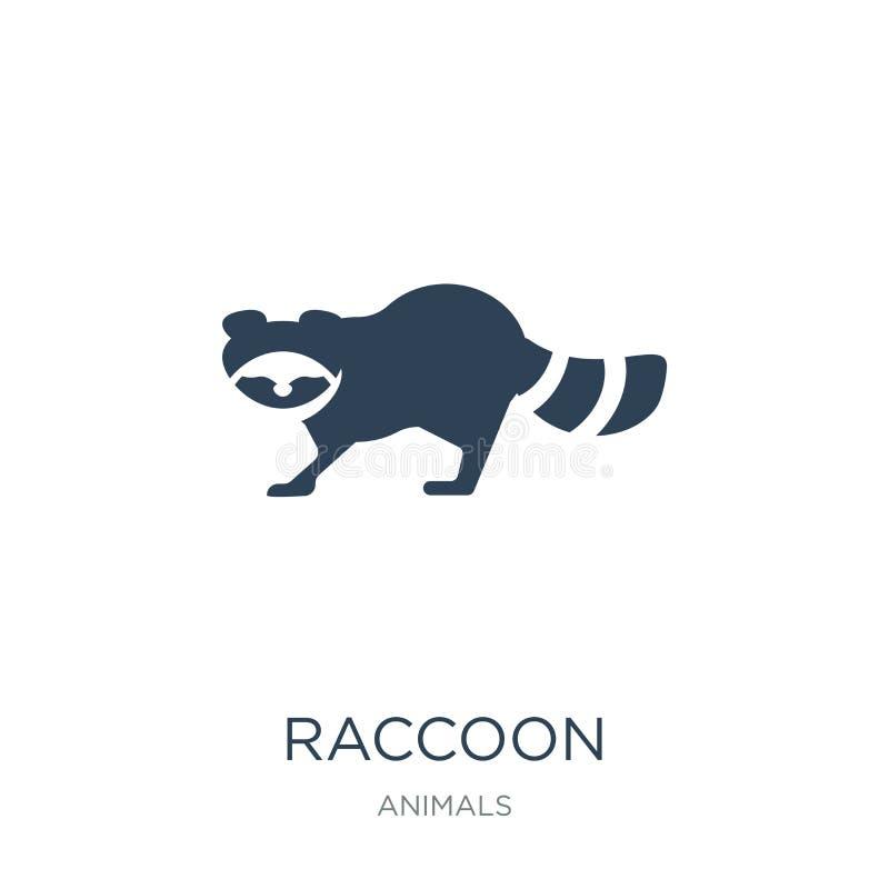 在时髦设计样式的浣熊象 在白色背景隔绝的浣熊象 浣熊传染媒介象简单和现代平的标志 皇族释放例证
