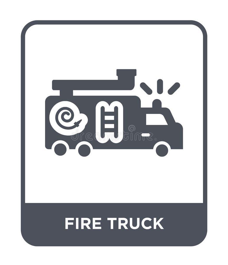 在时髦设计样式的消防车象 在白色背景隔绝的消防车象 消防车现代传染媒介的象简单和 库存例证