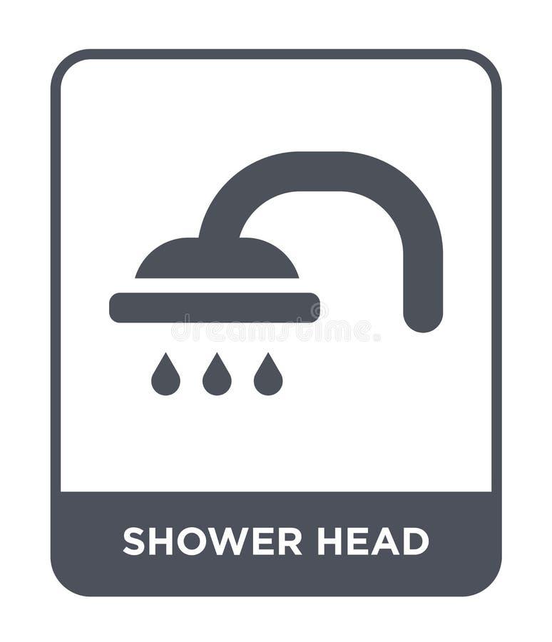 在时髦设计样式的淋浴喷头象 在白色背景隔绝的淋浴喷头象 淋浴喷头现代传染媒介的象简单和 向量例证