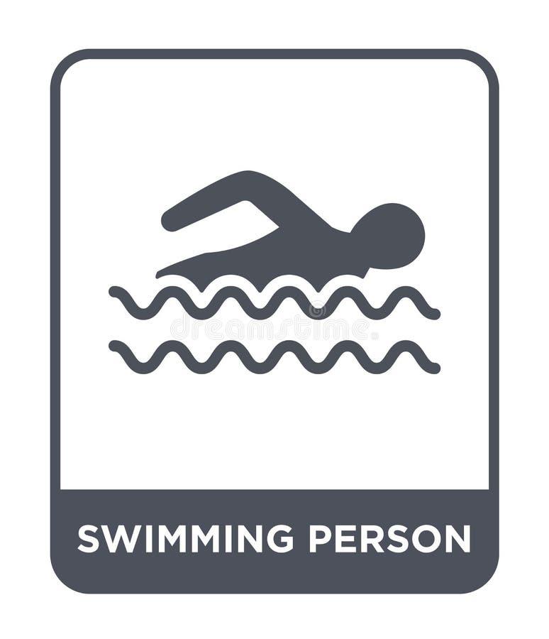 在时髦设计样式的游泳的人象 在白色背景隔绝的游泳的人象 简单游泳的人传染媒介的象 向量例证