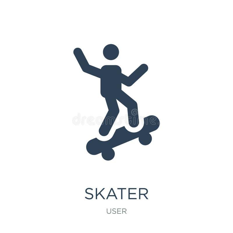在时髦设计样式的溜冰者象 在白色背景隔绝的溜冰者象 溜冰者传染媒介象简单和现代平的标志为 库存例证