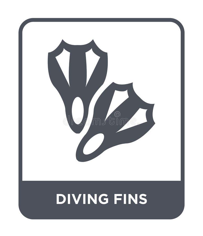 在时髦设计样式的潜水的飞翅象 在白色背景隔绝的潜水的飞翅象 潜水的飞翅导航现代的象简单和 库存例证