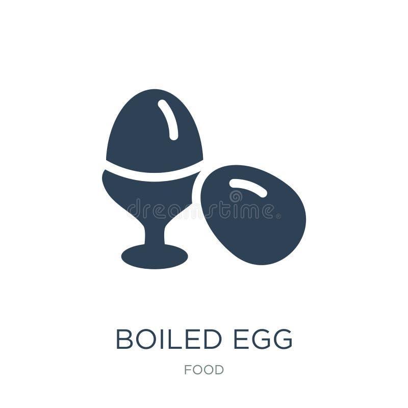 在时髦设计样式的熟蛋象 在白色背景隔绝的熟蛋象 熟蛋现代传染媒介的象简单和 皇族释放例证