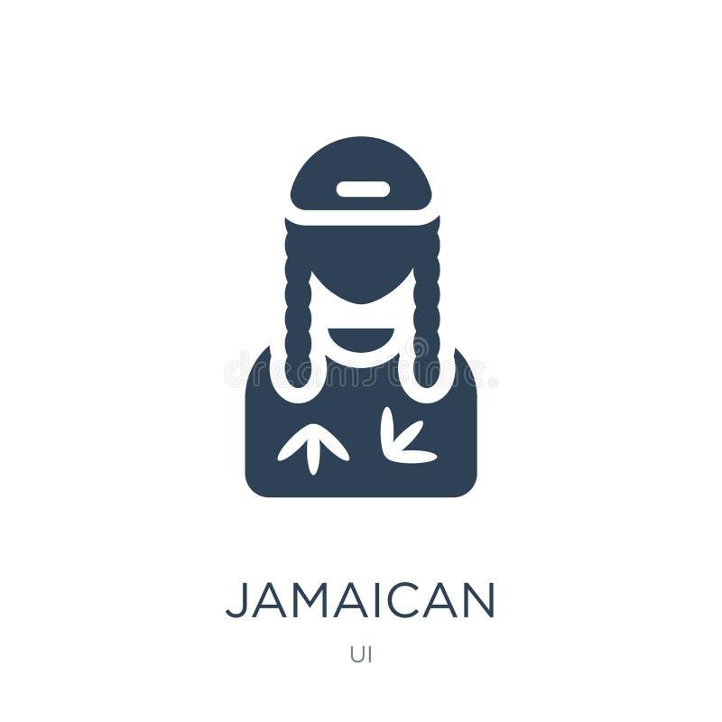 在时髦设计样式的牙买加象 在白色背景隔绝的牙买加象 牙买加传染媒介象简单和现代舱内甲板 皇族释放例证