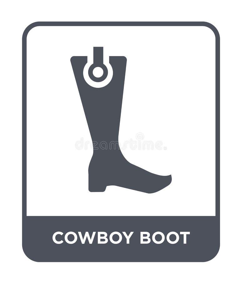 在时髦设计样式的牛仔靴象 在白色背景隔绝的牛仔靴象 牛仔靴现代传染媒介的象简单和 皇族释放例证