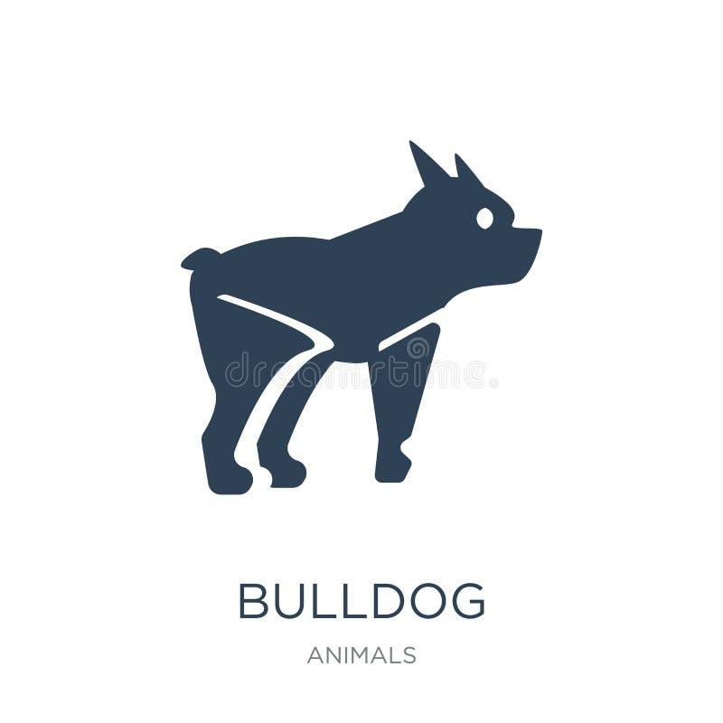 在时髦设计样式的牛头犬象 在白色背景隔绝的牛头犬象 牛头犬传染媒介象简单和现代平的标志 向量例证