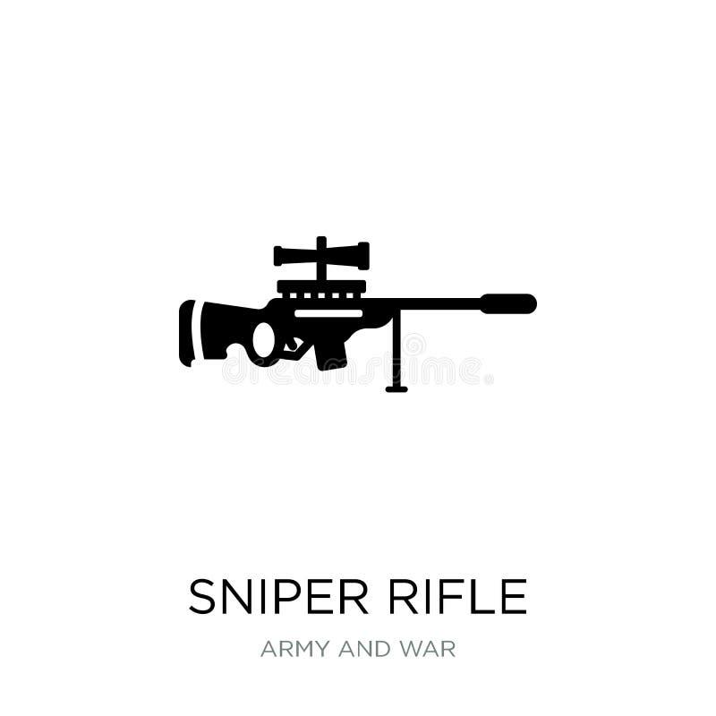 在时髦设计样式的狙击步枪象 在白色背景隔绝的狙击步枪象 狙击步枪简单传染媒介的象和 库存例证