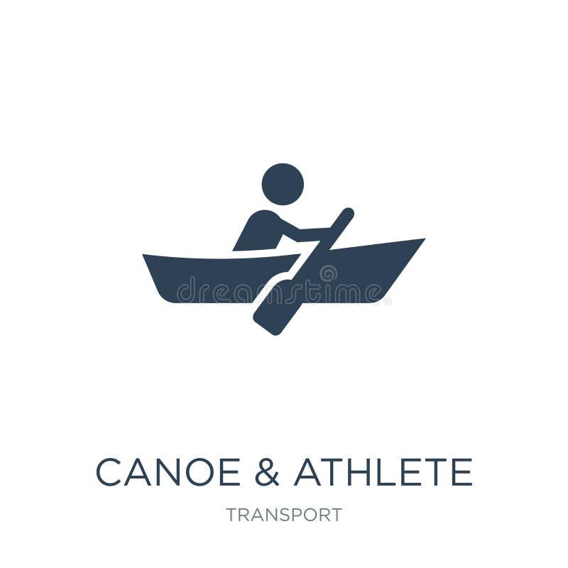 在时髦设计样式的独木舟&运动员象 在白色背景隔绝的独木舟&运动员象 独木舟&运动员简单传染媒介的象 向量例证