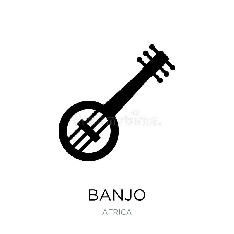在时髦设计样式的班卓琵琶象 在白色背景隔绝的班卓琵琶象 班卓琵琶传染媒介象简单和现代平的标志为 向量例证