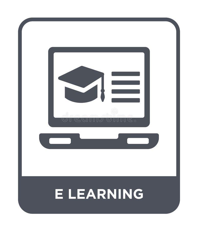 在时髦设计样式的电子教学象 在白色背景隔绝的电子教学象 电子教学现代传染媒介的象简单和 皇族释放例证