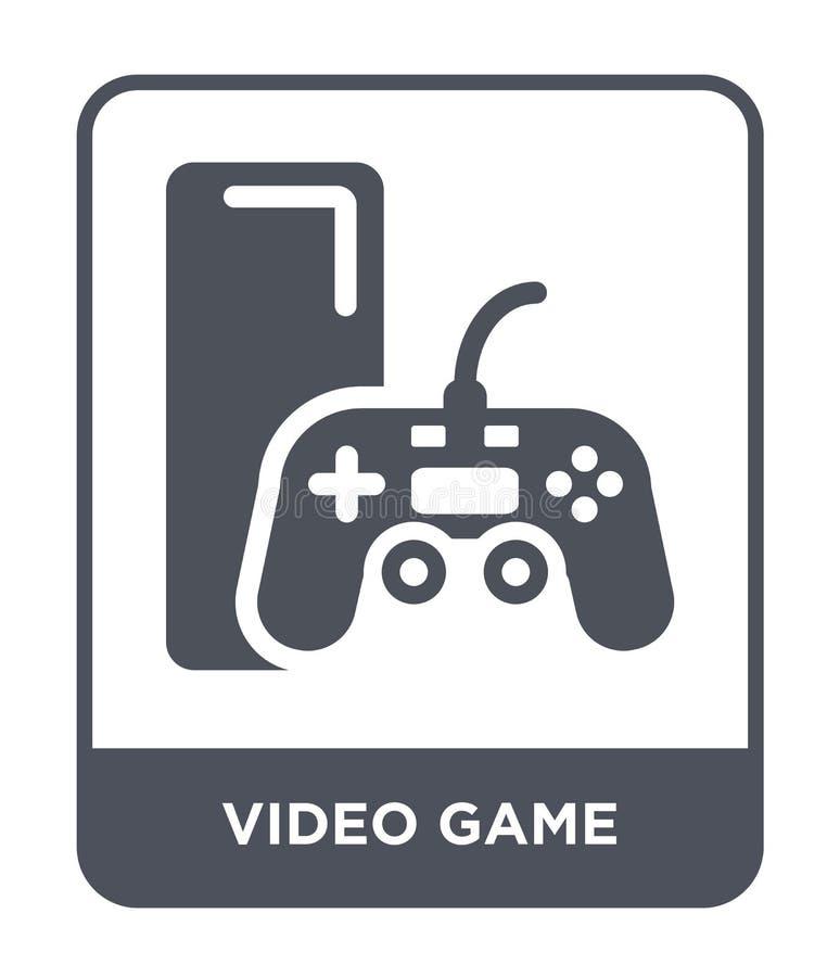在时髦设计样式的电子游戏象 在白色背景隔绝的电子游戏象 电子游戏现代传染媒介的象简单和 皇族释放例证