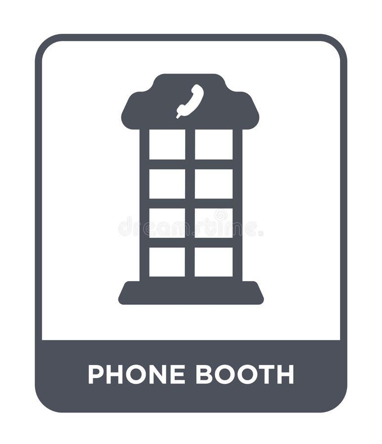 在时髦设计样式的电话亭象 在白色背景隔绝的电话亭象 电话亭现代传染媒介的象简单和 库存例证