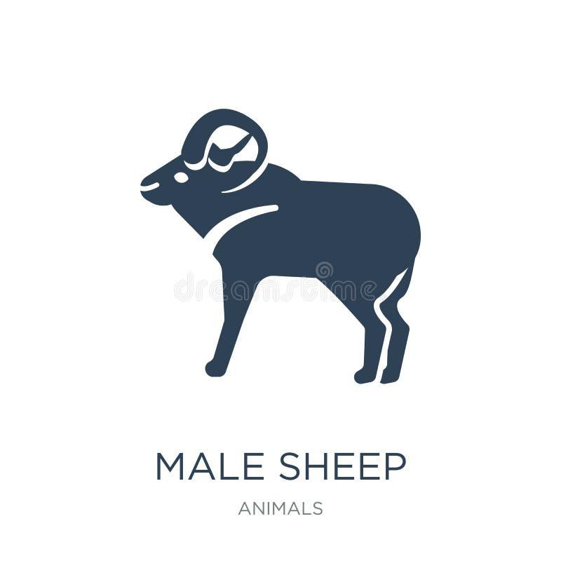 在时髦设计样式的男性绵羊象 在白色背景隔绝的男性绵羊象 公绵羊导航现代的象简单和 库存例证