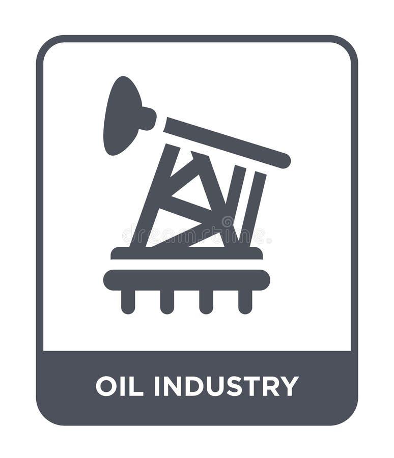 在时髦设计样式的石油工业象 在白色背景隔绝的石油工业象 石油工业简单传染媒介的象和 向量例证