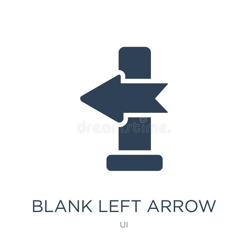 在时髦设计样式的空白的左箭象 在白色背景隔绝的空白的左箭象 空白的左箭传染媒介象 向量例证