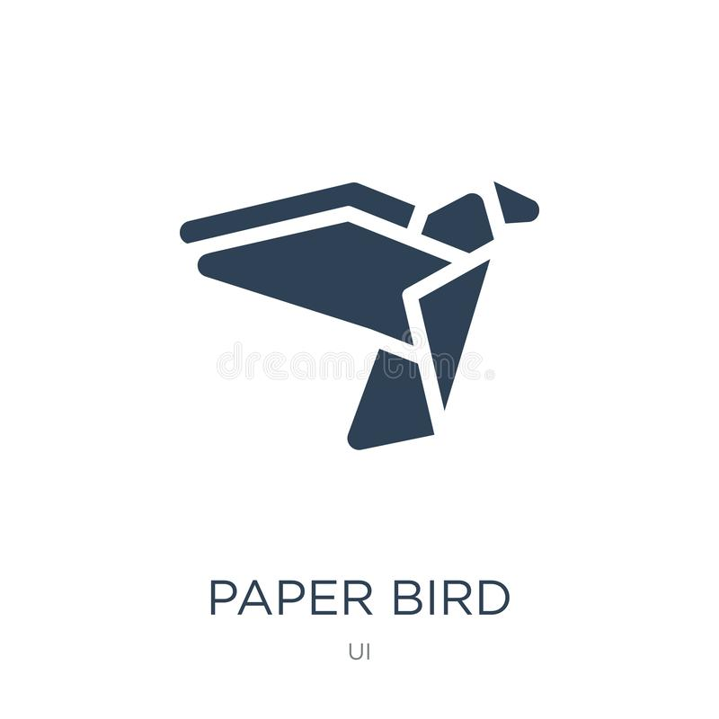 在时髦设计样式的纸鸟象 在白色背景隔绝的纸鸟象 现代纸鸟传染媒介的象简单和 皇族释放例证