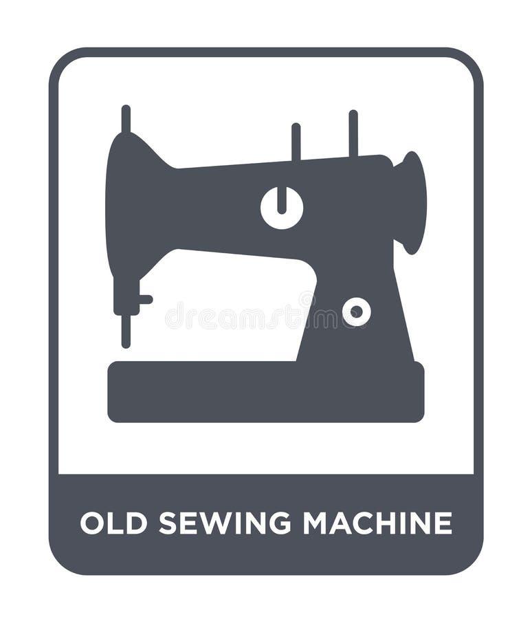 在时髦设计样式的老缝纫机象 在白色背景隔绝的老缝纫机象 老缝纫机传染媒介 皇族释放例证