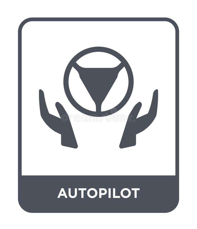 在时髦设计样式的自动驾驶仪象 在白色背景隔绝的自动驾驶仪象 自动驾驶仪传染媒介象简单和现代舱内甲板 向量例证