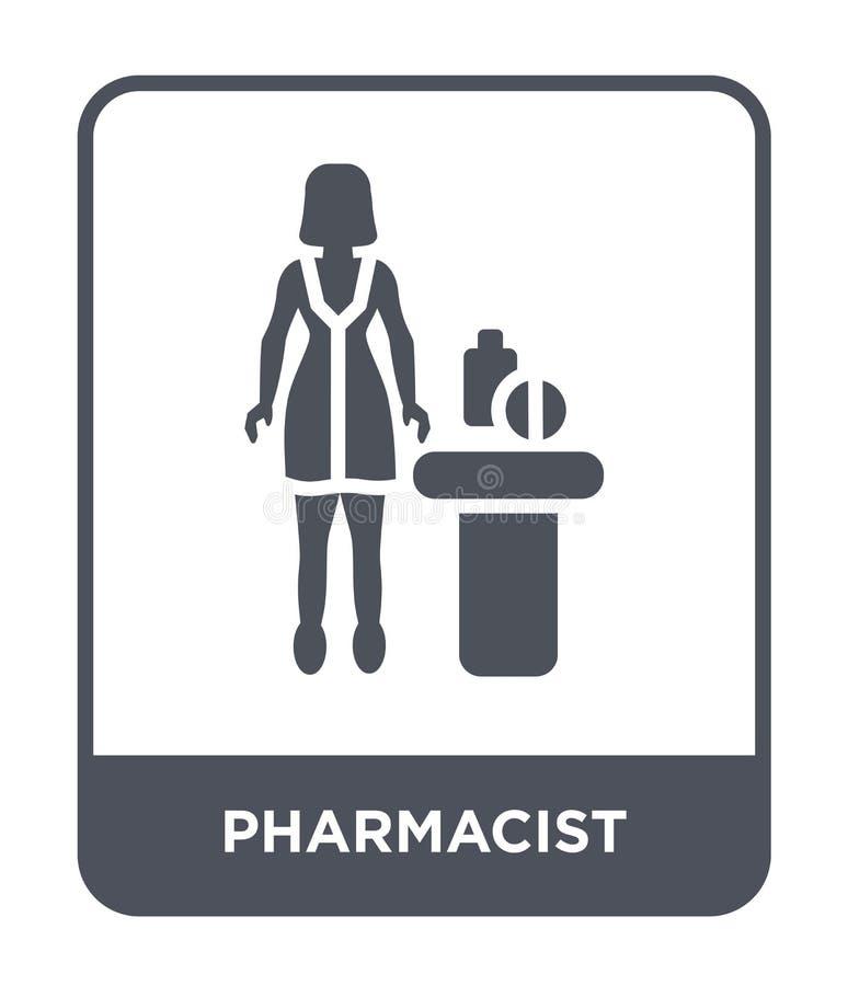 在时髦设计样式的药剂师象 在白色背景隔绝的药剂师象 药剂师现代传染媒介的象简单和 向量例证