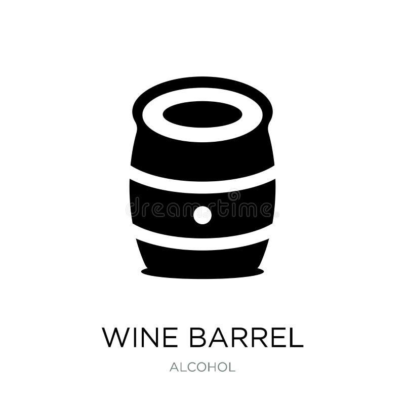 在时髦设计样式的葡萄酒桶象 在白色背景隔绝的葡萄酒桶象 葡萄酒桶现代传染媒介的象简单和 向量例证