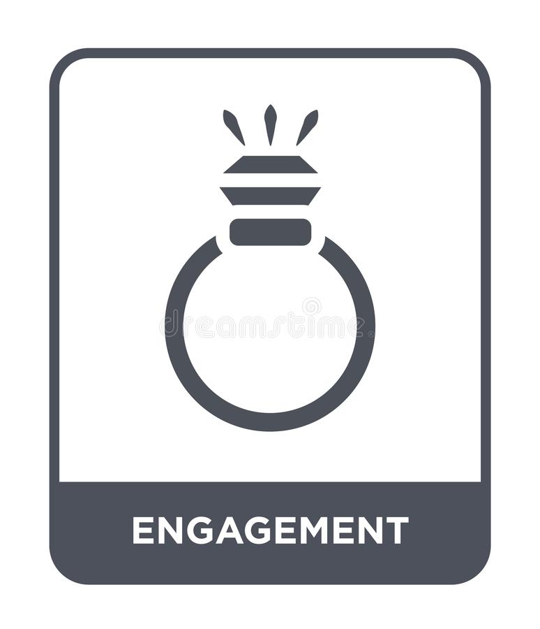 在时髦设计样式的订婚象 在白色背景隔绝的订婚象 订婚现代传染媒介的象简单和 皇族释放例证