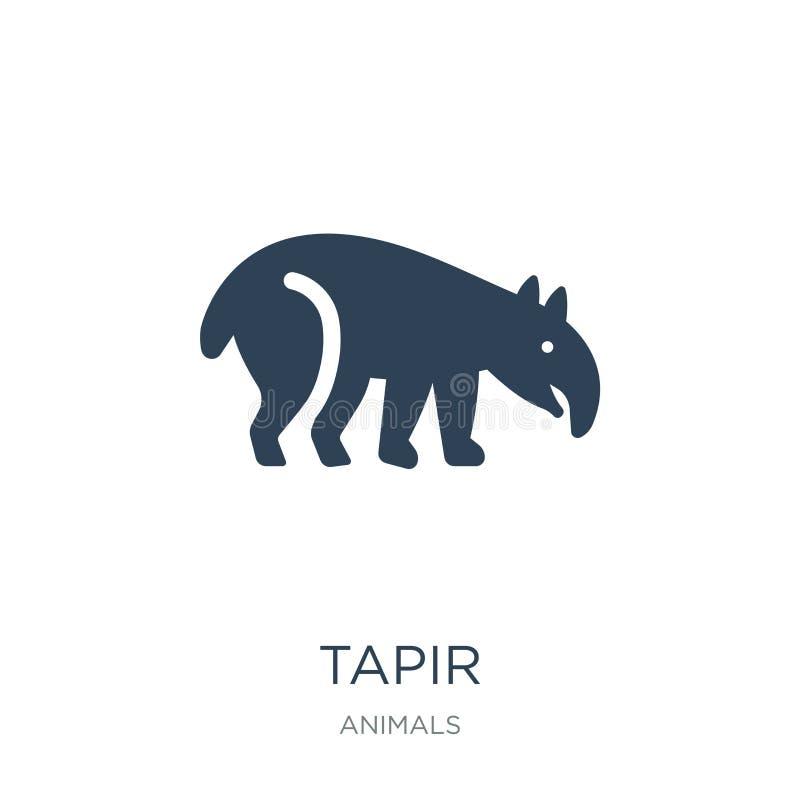 在时髦设计样式的貘象 在白色背景隔绝的貘象 貘传染媒介象简单和现代平的标志为 皇族释放例证