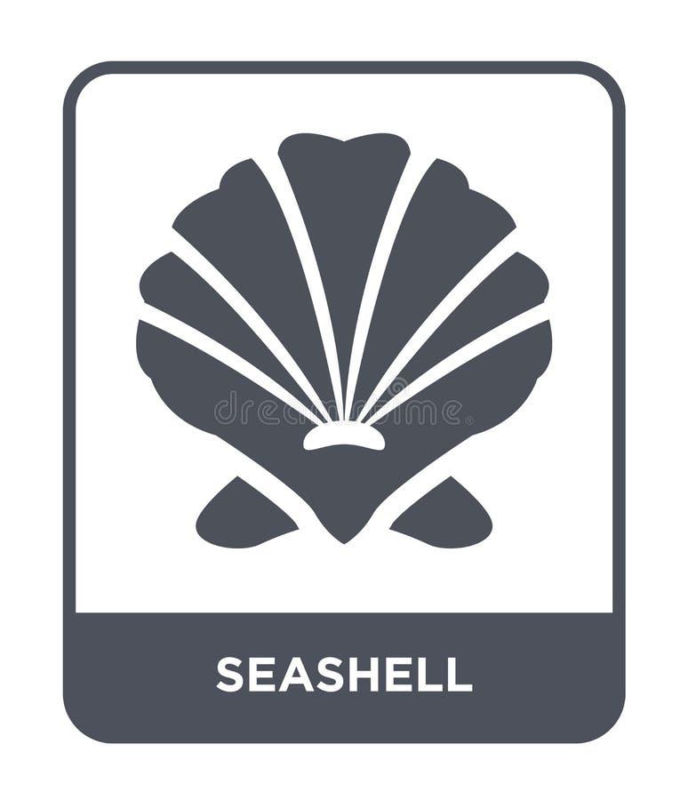 在时髦设计样式的贝壳象 在白色背景隔绝的贝壳象 贝壳传染媒介象简单和现代舱内甲板 向量例证