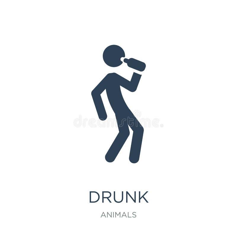 在时髦设计样式的醉酒的象 在白色背景隔绝的被喝的象 醉酒的象简单和现代平的标志为 皇族释放例证
