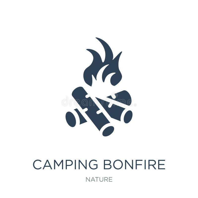 在时髦设计样式的野营的篝火象 在白色背景隔绝的野营的篝火象 简单野营的篝火传染媒介的象 皇族释放例证