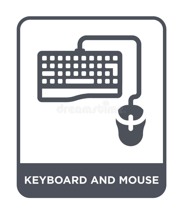 在时髦设计样式的键盘和老鼠象 在白色背景隔绝的键盘和老鼠象 键盘和老鼠传染媒介 向量例证