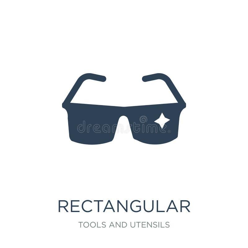 在时髦设计样式的长方形镜片象 在白色背景隔绝的长方形镜片象 长方形 库存例证