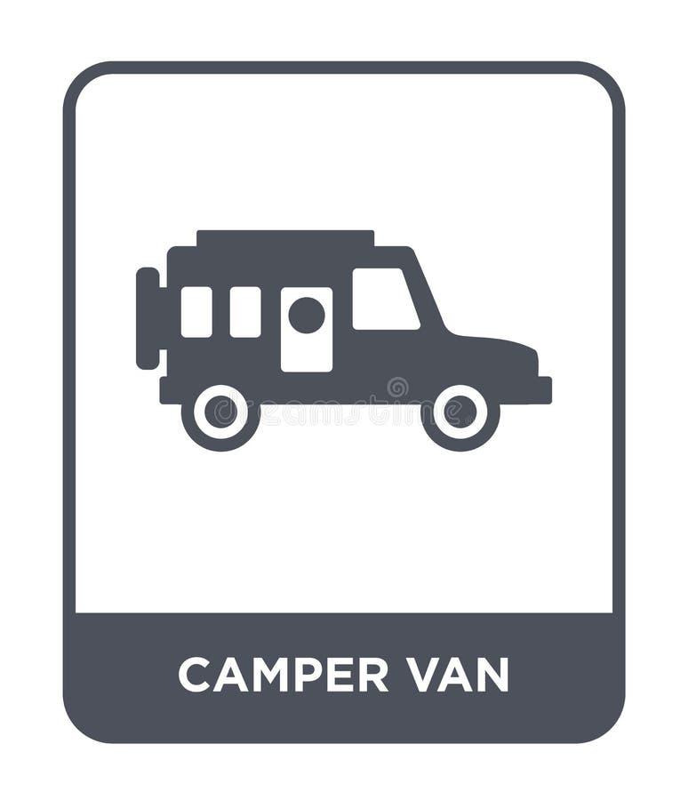 在时髦设计样式的露营者货车象 在白色背景隔绝的露营者货车象 露营者货车现代传染媒介的象简单和 库存例证