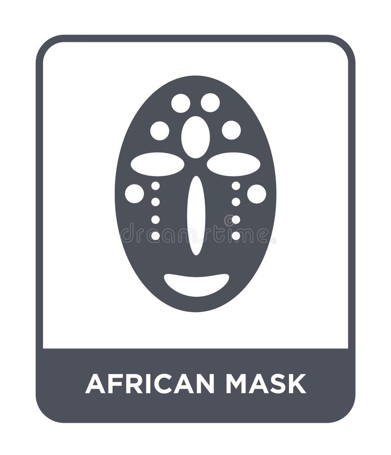 在时髦设计样式的非洲面具象 在白色背景隔绝的非洲面具象 简单非洲面具传染媒介的象和 向量例证