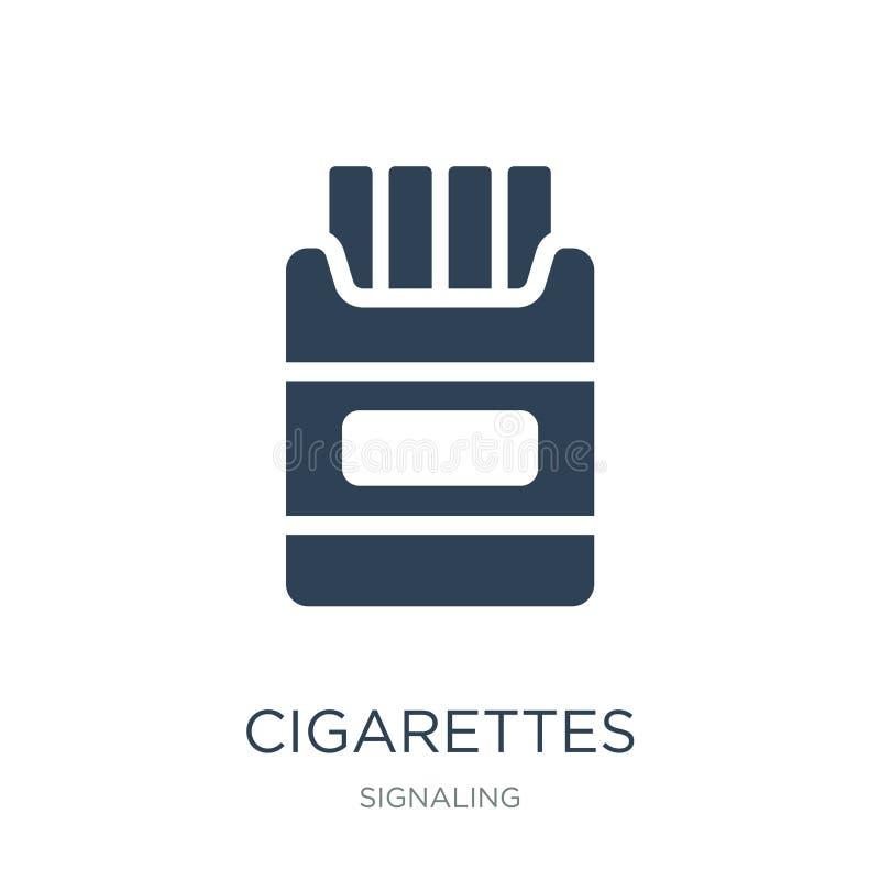 在时髦设计样式的香烟象 在白色背景隔绝的香烟象 香烟现代传染媒介的象简单和 库存例证