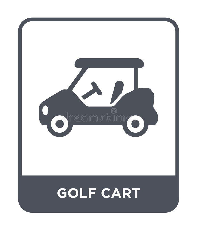 在时髦设计样式的高尔夫车象 在白色背景隔绝的高尔夫车象 高尔夫车传染媒介象简单和现代舱内甲板 向量例证