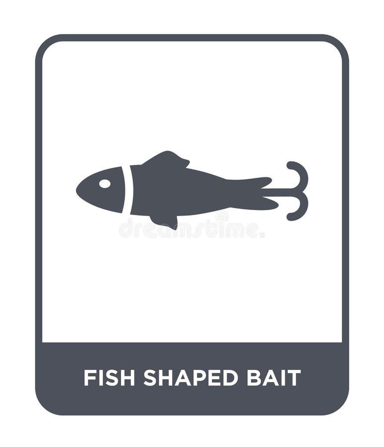 在时髦设计样式的鱼形状的诱饵象 鱼塑造了在白色背景隔绝的诱饵象 鱼形状的诱饵传染媒介象 向量例证