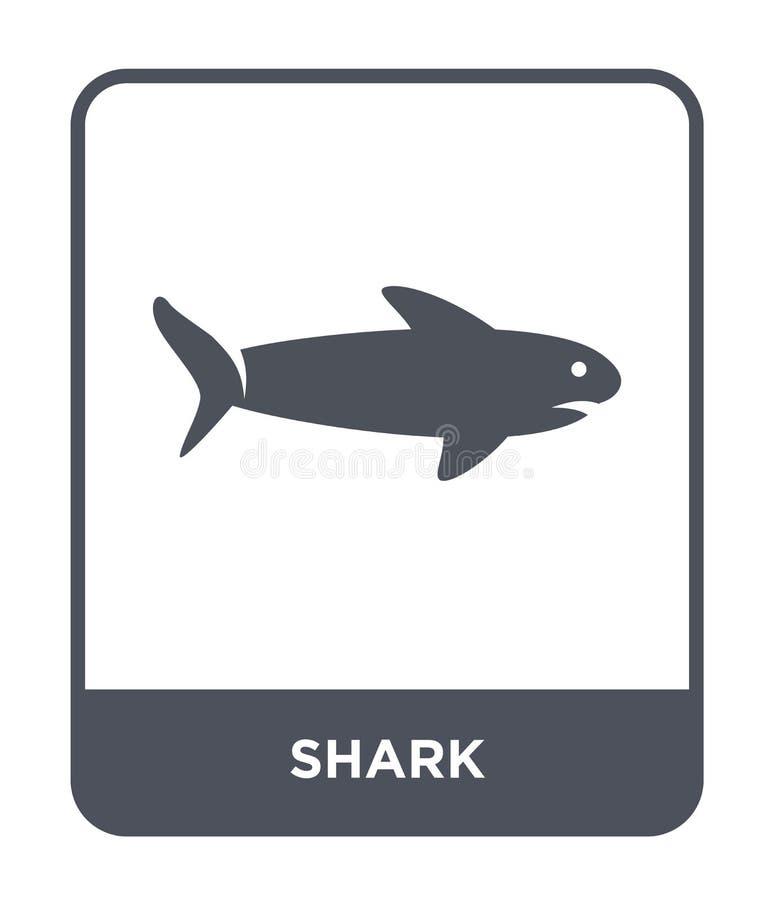 在时髦设计样式的鲨鱼象 在白色背景隔绝的鲨鱼象 鲨鱼传染媒介象简单和现代平的标志为 库存例证