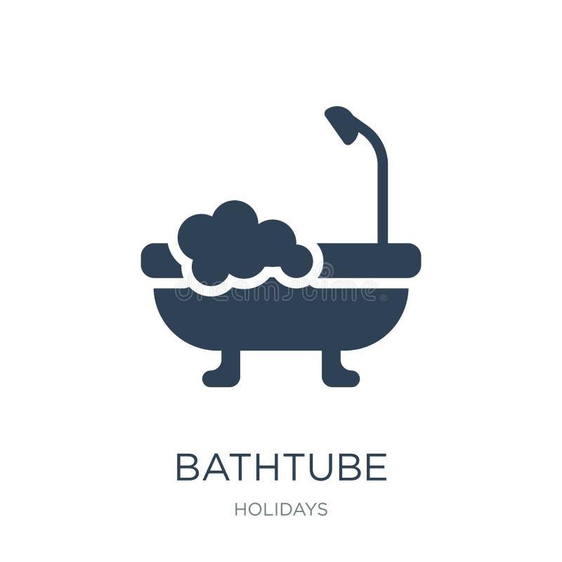在时髦设计样式的bathtube象 在白色背景隔绝的bathtube象 bathtube传染媒介象简单和现代舱内甲板 皇族释放例证