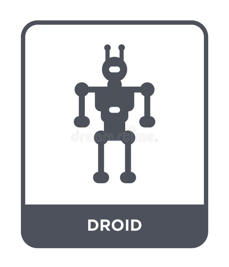 在时髦设计样式的droid象 在白色背景隔绝的Droid象 droid传染媒介象简单和现代平的标志为 皇族释放例证