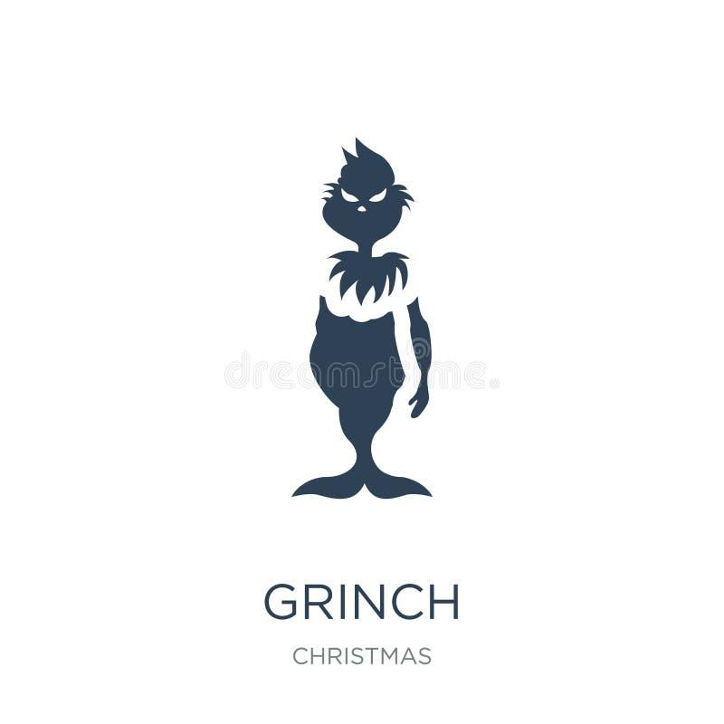 在时髦设计样式的grinch象 在白色背景隔绝的grinch象 grinch传染媒介象简单和现代平的标志为 库存例证