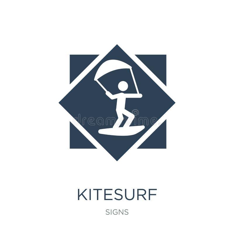 在时髦设计样式的kitesurf象 在白色背景隔绝的kitesurf象 kitesurf传染媒介象简单和现代舱内甲板 库存例证