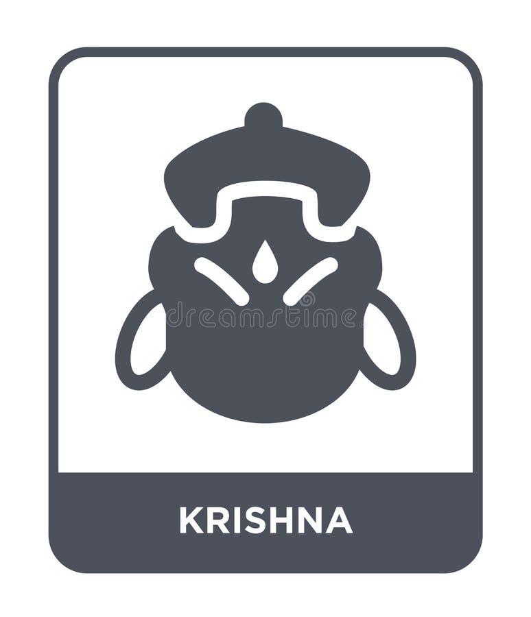 在时髦设计样式的krishna象 在白色背景隔绝的krishna象 krishna传染媒介象简单和现代平的标志 向量例证