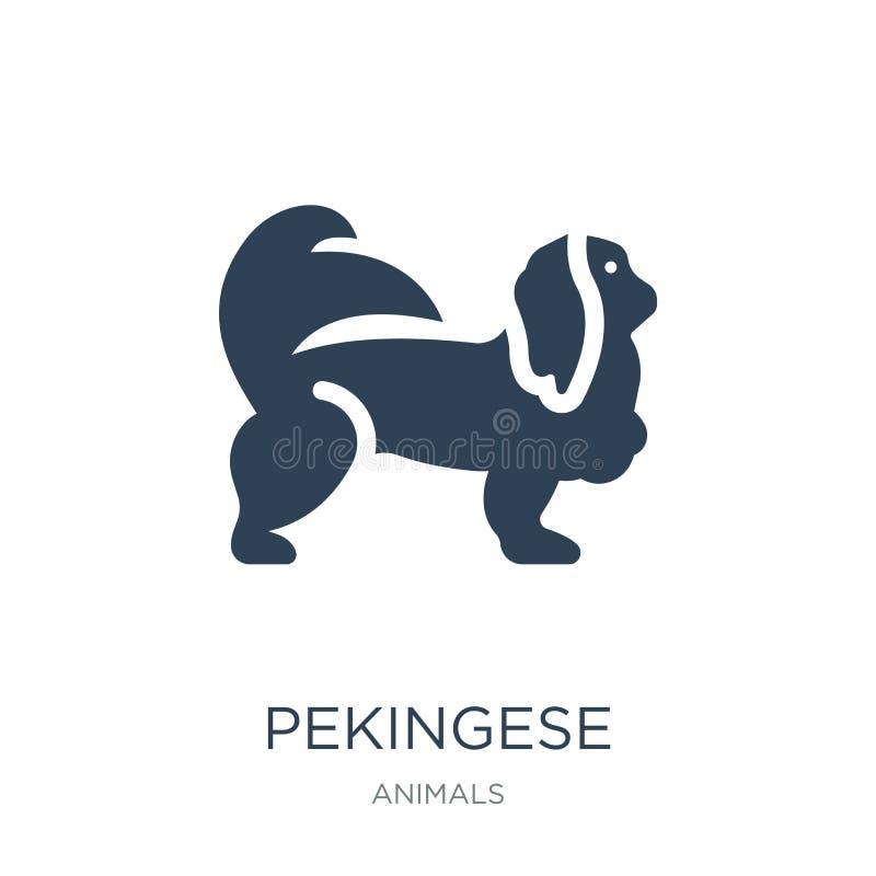 在时髦设计样式的pekingese象 在白色背景隔绝的pekingese象 pekingese传染媒介象简单和现代舱内甲板 皇族释放例证