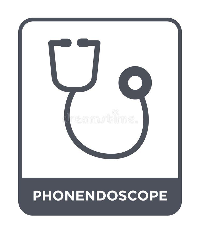 在时髦设计样式的phonendoscope象 在白色背景隔绝的phonendoscope象 phonendoscope简单传染媒介的象和 库存例证