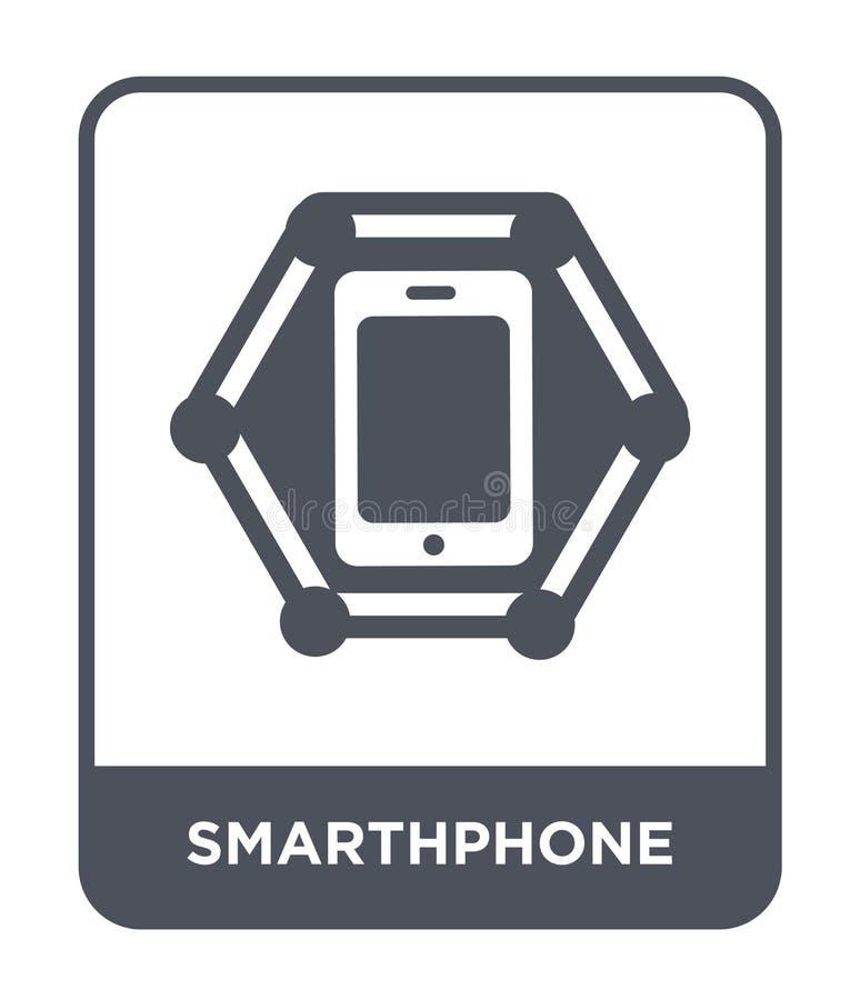 在时髦设计样式的smarthphone象 在白色背景隔绝的smarthphone象 smarthphone现代传染媒介的象简单和 皇族释放例证