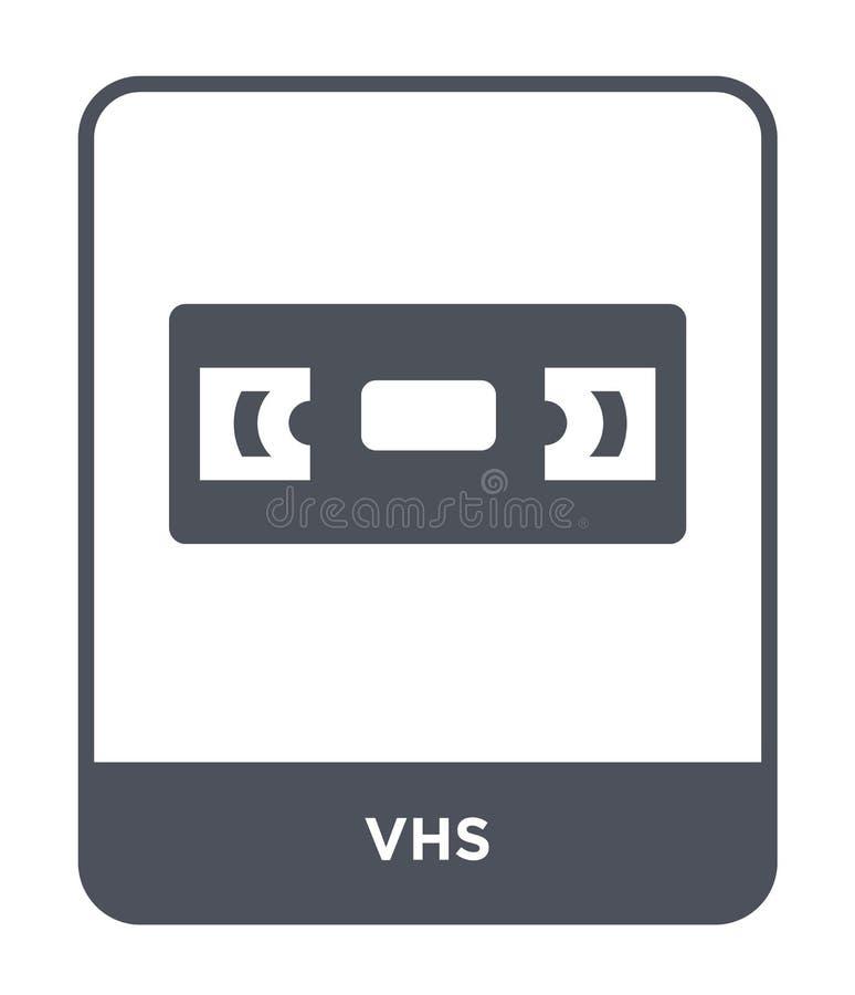 在时髦设计样式的vhs象 在白色背景隔绝的vhs象 网站的vhs传染媒介象简单和现代平的标志 皇族释放例证