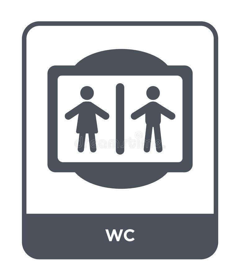 在时髦设计样式的wc象 在白色背景隔绝的Wc象 网站的wc传染媒介象简单和现代平的标志, 皇族释放例证