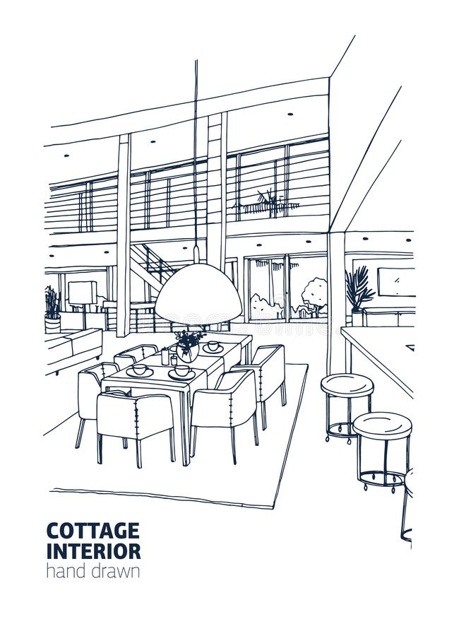 在时髦Scandic样式装备的住宅房子或夏天村庄内部单图  用餐空的四家庭人空间的碗布置时髦的表 库存例证