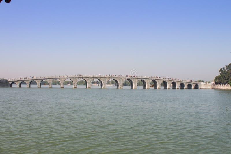 在昆明湖的十七曲拱桥梁在颐和园,北京,中国 免版税库存图片